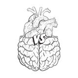 Heart vs brain. Concept of mind against love fight, difficult choice. Hand drawn black and white vector illustration. Royalty Free Stock Images