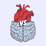 Heart vs brain. Concept of mind against love fight, difficult choice. Hand drawn vector illustration. Royalty Free Stock Photos