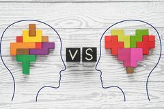 Heart vs Mind. Heart versus brain. Concept of mind against love. Heads of two people with colourful shapes of abstract brain and heart royalty free illustration