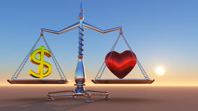 Heart Vs. Money. Beautiful Balance Scale Holding Dollar Sign on one side and Heart on the other, with peaceful, simple sunset Stock Image