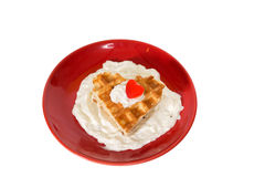 Heart waffle dessert for Saint Valentine`s Day Royalty Free Stock Images