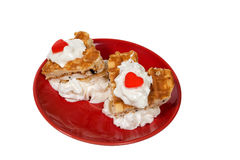 Heart waffle dessert for Saint Valentine`s Day Stock Images