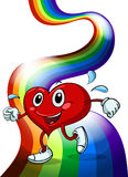 A heart walking above the rainbow Royalty Free Stock Image