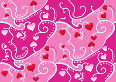 Heart Wallpaper. Valentine Pink and Red Heart Wallpaper (Vector Royalty Free Stock Images