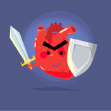 Heart warrior. strong human heart concept. protect -  Stock Photos