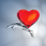 Heart was caught in a love networks. Stock Photos