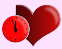 Red heart and watch Stock Images