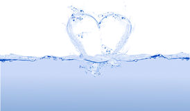 Heart water. Love -  in white and blue Royalty Free Stock Photos
