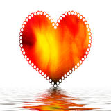 Heart  on water. With ripples and white background Stock Images