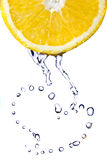 Heart from water drops on lemon isolated on white Stock Photography