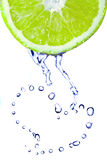 Heart from water drops on lime Stock Photos