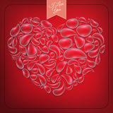 Heart from water drops on red background. EPS 10 Royalty Free Stock Photos