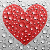 Heart in water drops Royalty Free Stock Photos