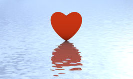 Heart on water with reflection. Lovely red heart rise out of peaceful water. Metaphor for reflection of mind, true love. Daylight dreamy scene Stock Images
