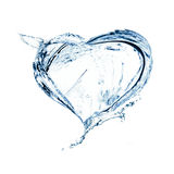 Heart from water splash Stock Photos