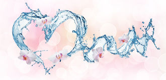 Heart from water splash with bubbles Stock Images