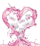 Heart from water splash with bubbles Royalty Free Stock Images