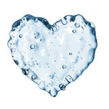 Heart from water splash with bubbles isolated on white Royalty Free Stock Photos