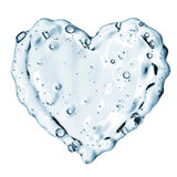 Heart from water splash with bubbles isolated on white Stock Photos