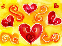 Heart a watercolor. Watercolor heart on a yellow background Royalty Free Stock Photography