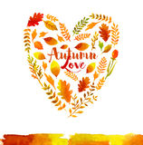 Heart of watercolor Autumn leaves Royalty Free Stock Image