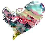 Heart in watercolor hues and wax Royalty Free Stock Photos