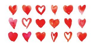Heart watercolor set Stock Image