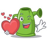With heart watering can character cartoon Royalty Free Stock Photos