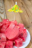 The heart of the watermelon. Slices of watermelon on a plate Stock Photos