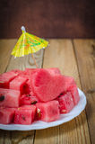 The heart of the watermelon. Slices of watermelon on a plate Royalty Free Stock Photo