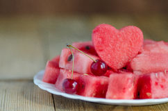 The heart of the watermelon. Slices of watermelon on a plate Royalty Free Stock Photos
