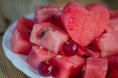 The heart of the watermelon. Slices of watermelon on a plate Stock Photography