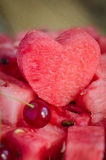 The heart of the watermelon. Slices of watermelon on a plate Royalty Free Stock Photography