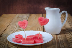 The heart of the watermelon. Slices of watermelon on a plate Stock Image