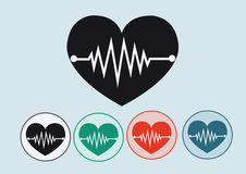Heart wave icons Royalty Free Stock Photos