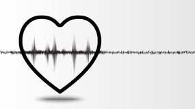 Heart wave and white background. With isolated vector design vector illustration