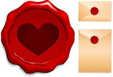 Heart Wax Seal Stock Photo