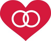 Heart with wedding rings icon Stock Photos