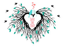 Heart wedding tree with birds, vector royalty free illustration