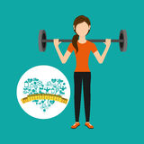 Heart weight loss sport person dumbbell Royalty Free Stock Image