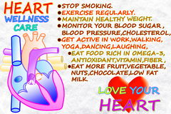 Heart wellness care related words in snow white background Stock Image