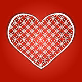 The heart which azhurno is cut out from paper, isolated against. The background of. Vector illustration Royalty Free Stock Photography
