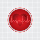 Heart whit ekg Stock Images