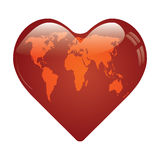 Heart whit world map on. Stock Photography