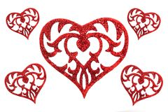 Heart on white background. Five red hearts on very light background Stock Photography