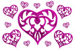 Heart on white background. Many pink hearts on very light background Stock Image