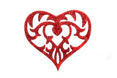Heart on white background. Red heart on very light background Royalty Free Stock Photos