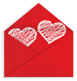 Heart white crayon inside envelope vector Stock Photos