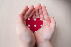 Heart with white dots in the hands of women Stock Image