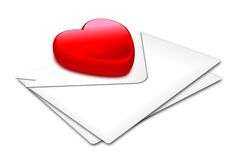 Heart_white envelop. A red glossy heart on a pair of envelops Stock Photo